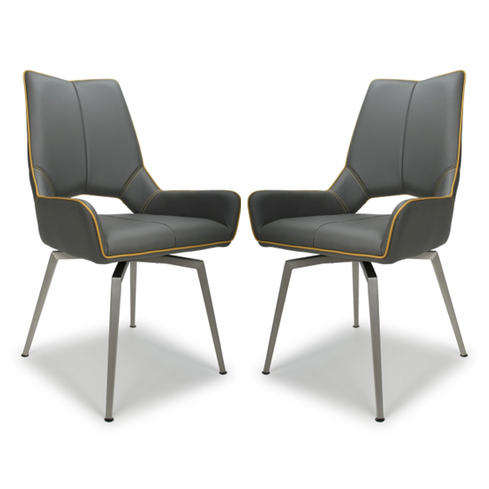 Mako Swivel Leather Effect Graphite Grey Dining Chairs In Pair_1