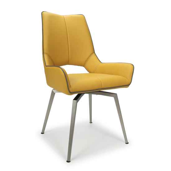 Mako Swivel Leather Effect Yellow Dining Chairs In Pair_2