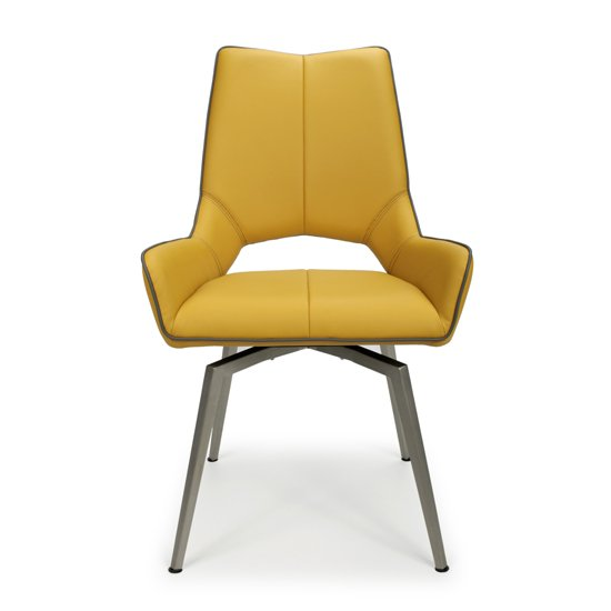 Mako Swivel Leather Effect Yellow Dining Chairs In Pair_3