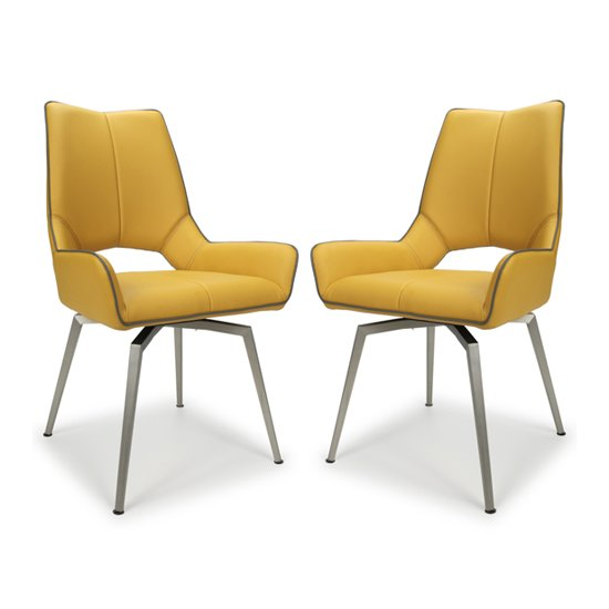 Mako Swivel Leather Effect Yellow Dining Chairs In Pair