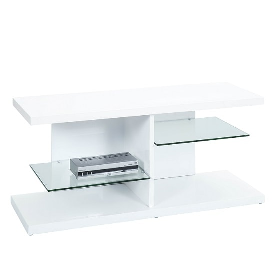 Malaga TV Stand In High Gloss White With Glass Shelves_2