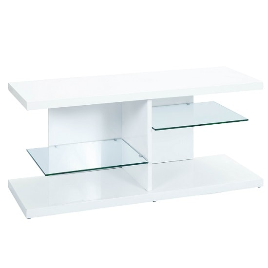 Malaga TV Stand In High Gloss White With Glass Shelves_3