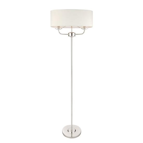 View Maldon glass floor lamp in bright nickel