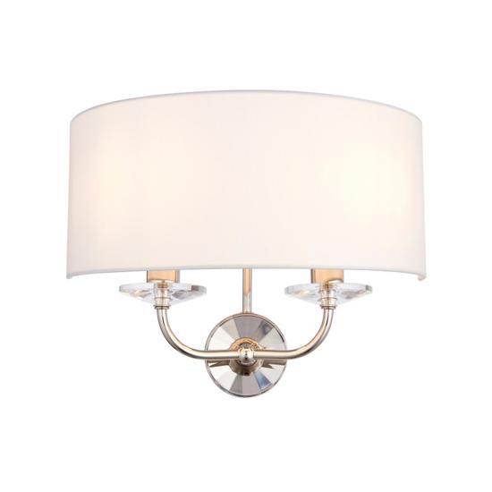 View Maldon glass wall light in bright nickel
