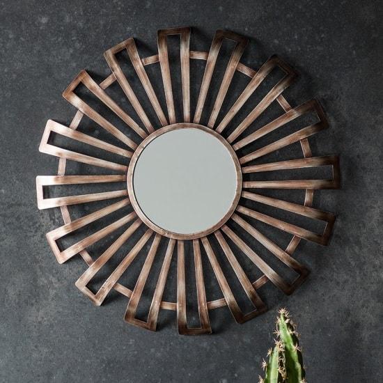 Maldon Metallic Wall Mirror Round In Bronze