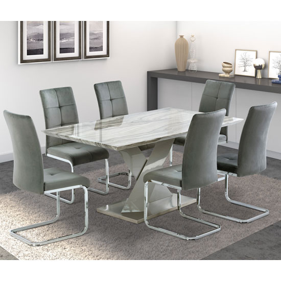 Malin Gloss Grey Granite Effect Dining Set With 6 Florence Chair