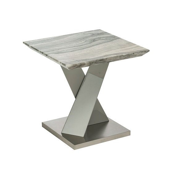 Malin Lamp Table Square In Granite Effect And High Gloss Grey