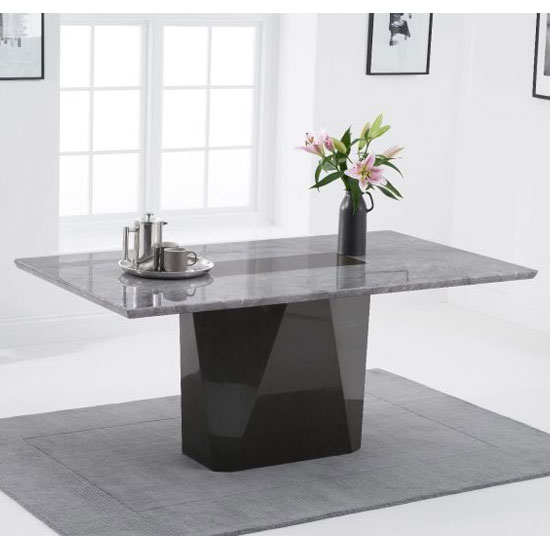 Malina Rectangular Marble Dining Table In Light Grey