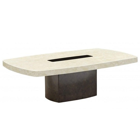 Malissa Marble Coffee Table Rectangular In Cream And Brown