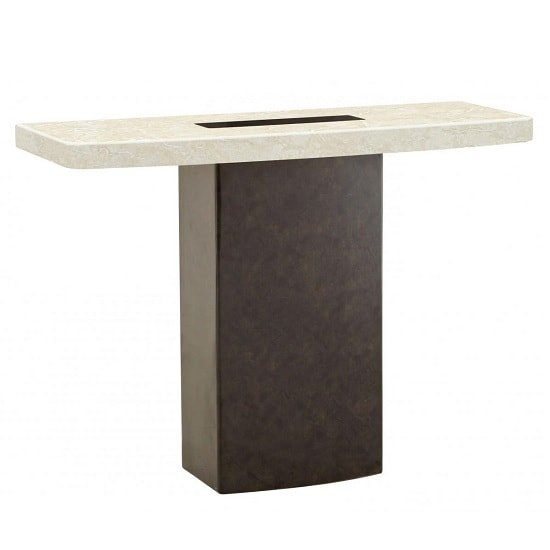 Malissa Marble Console Table Rectangular In Cream And Brown