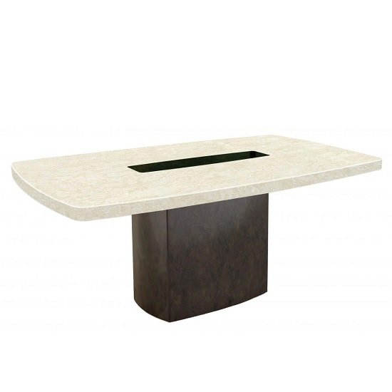 Malissa Marble Dining Table Rectangular In Cream And Brown
