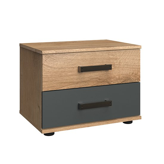 Malmo Wooden Bedside Cabinet In Planked Oak And Graphite_2