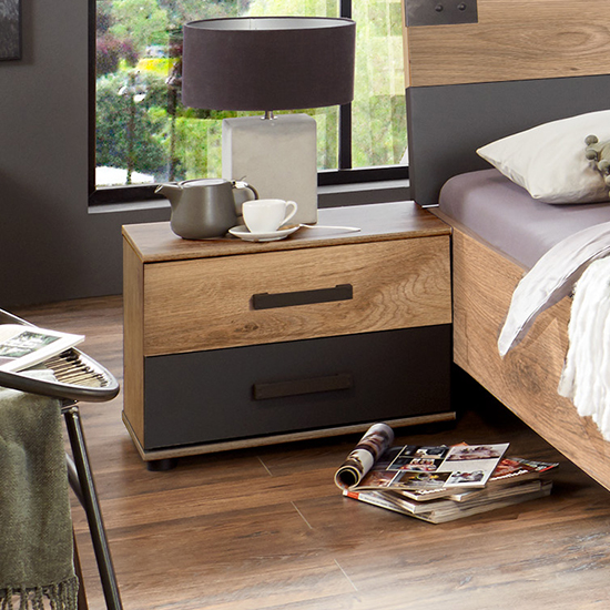 Malmo Wooden Bedside Cabinet In Planked Oak And Graphite_1