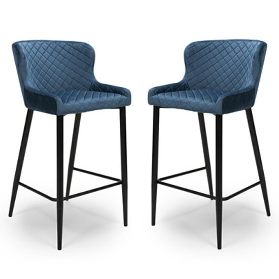 Malmo Blue Velvet Fabric Bar Stool With Metal Base In Pair