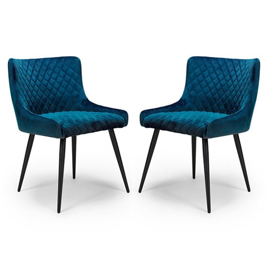 Malmo Blue Velvet Fabric Dining Chair In A Pair