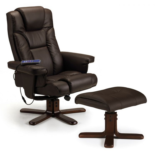 Malmo Faux Leather Massage Swivel And Recliner Chair In Brown