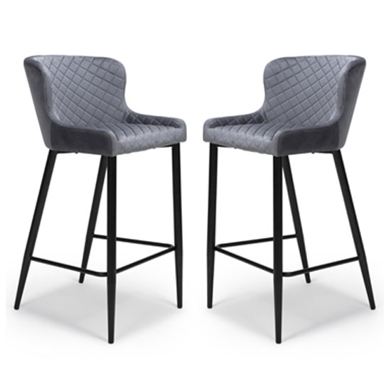 Malmo Grey Velvet Fabric Bar Stool With Metal Base In Pair