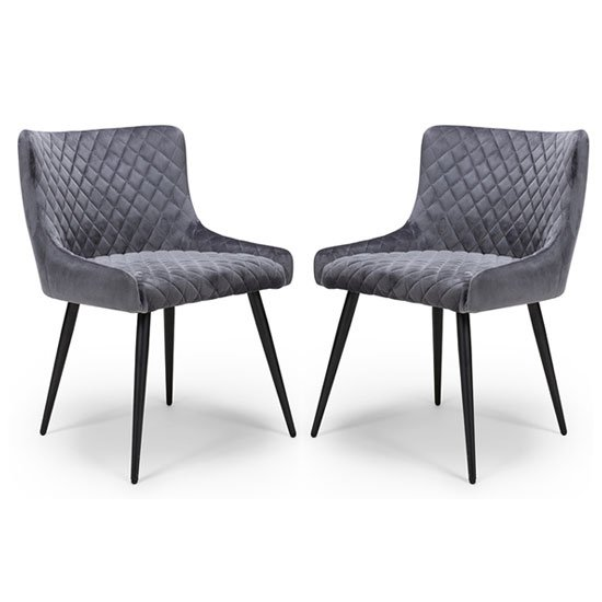 Malmo Grey Velvet Fabric Dining Chair In A Pair_1