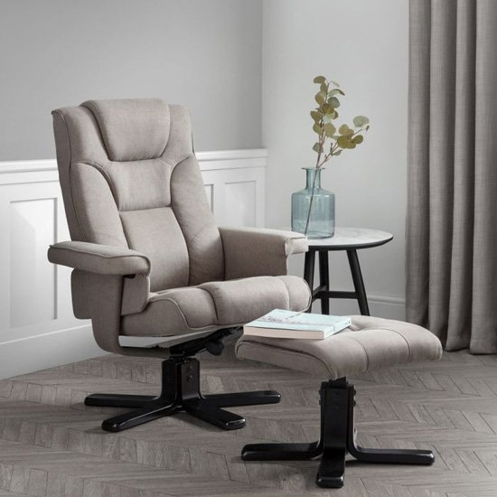Malmo Linen Swivel Recliner Chair And Stool In Grey