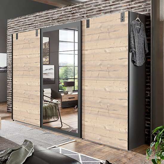View Malmo wide sliding mirrored wardrobe in silver fir and graphite