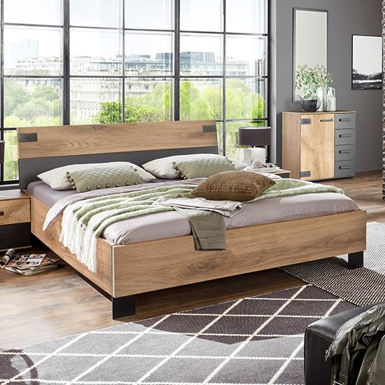 Malmo Wooden Small Double Bed In Planked Oak And Graphite