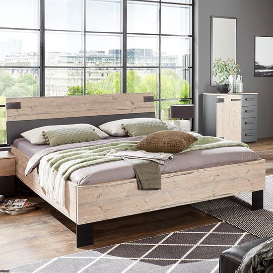 Malmo Wooden Small Double Bed In Silver Fir And Graphite