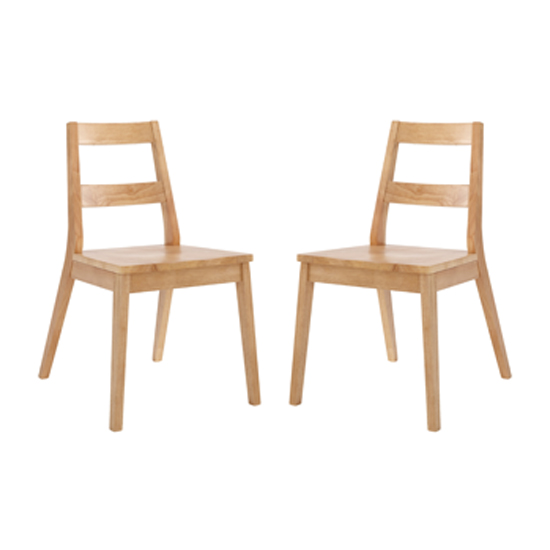 Malmo White Oak Wooden Dining Chairs In Pair