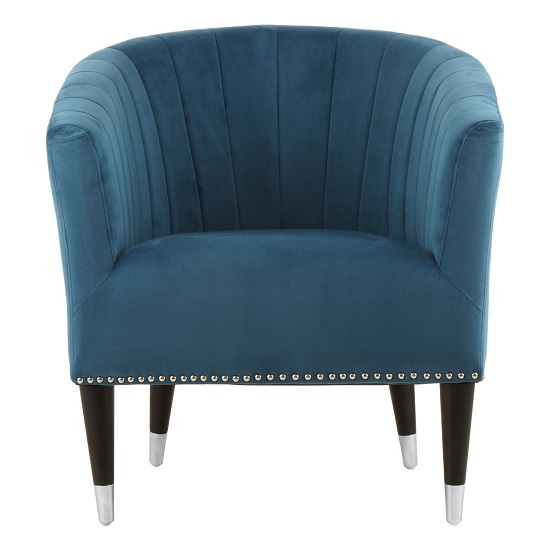 Homam Tub Style Velvet Upholstered Armchair In Blue Finish   _1