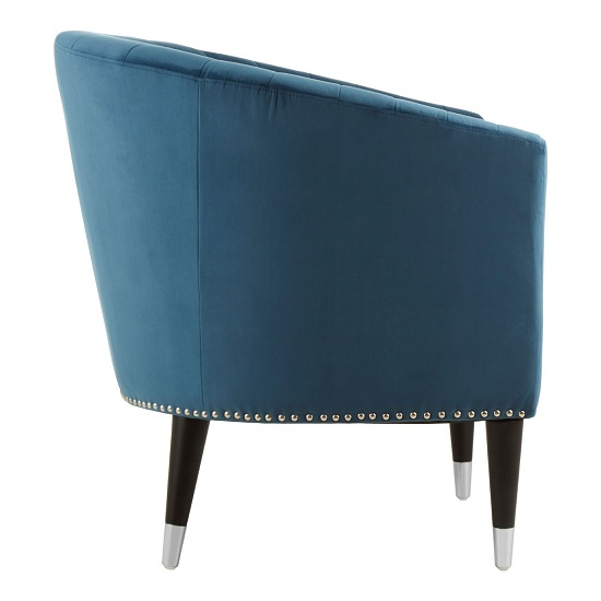 Homam Tub Style Velvet Upholstered Armchair In Blue Finish   _2
