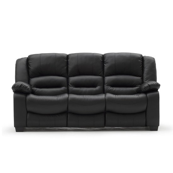 Malou 3 Seater Sofa In Black Faux Leather
