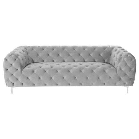 Malpick Velvet Upholstered 3 Seater Sofa In Mink