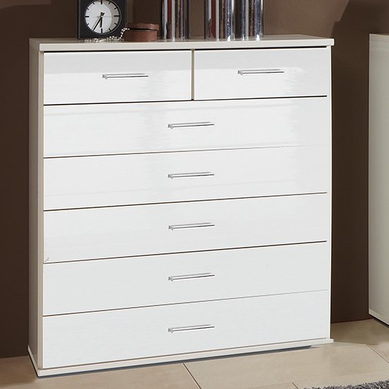 Malta Chest Of Drawers In High Gloss White With 7 Drawers