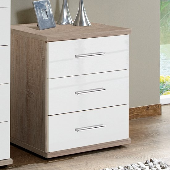 Malta Chest Of Drawers In High Gloss White And Oak With 3 Drawer