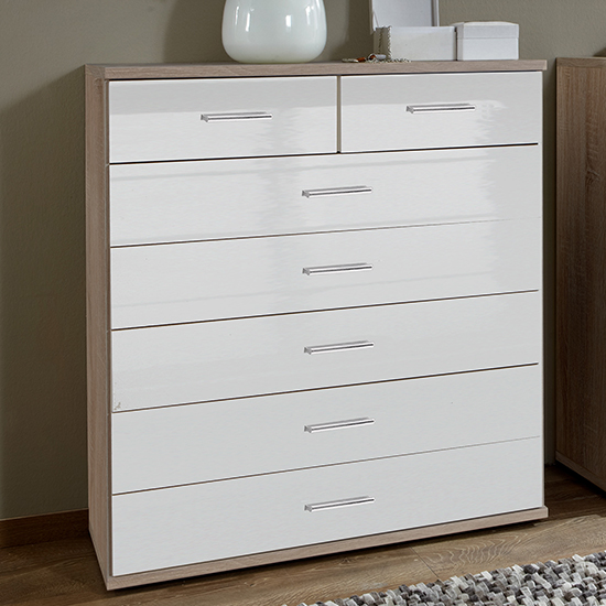 Malta Chest Of Drawers In High Gloss White And Oak With 7 Drawer