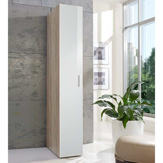 Malta Wooden Wardrobe In High Gloss White And Oak