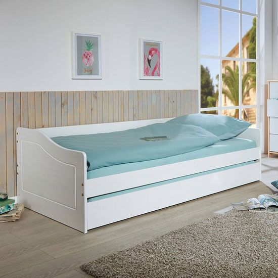 Malte 1 Wooden Children Single Bed In White