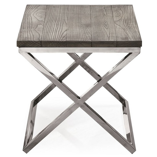 Malta Wooden Lamp Table In Grey With Stainless Steel Legs