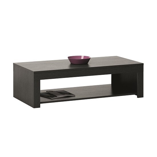 Malvern Wooden Coffee Table In Ebony With 1 Shelf