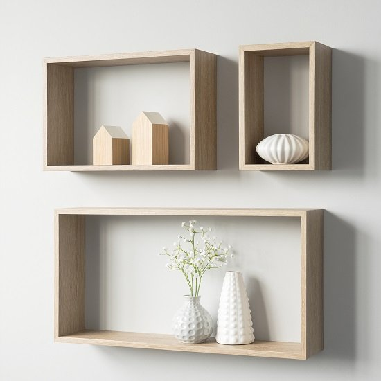 Photo of Malvern contemporary set of 3 shelving unit in sonoma oak