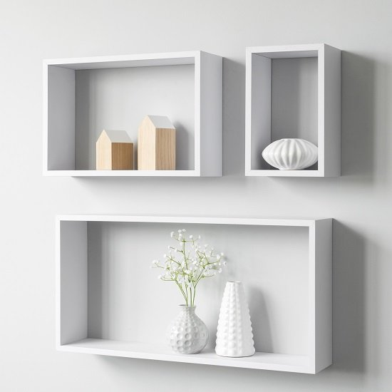 Photo of Malvern contemporary set of 3 shelving unit in white