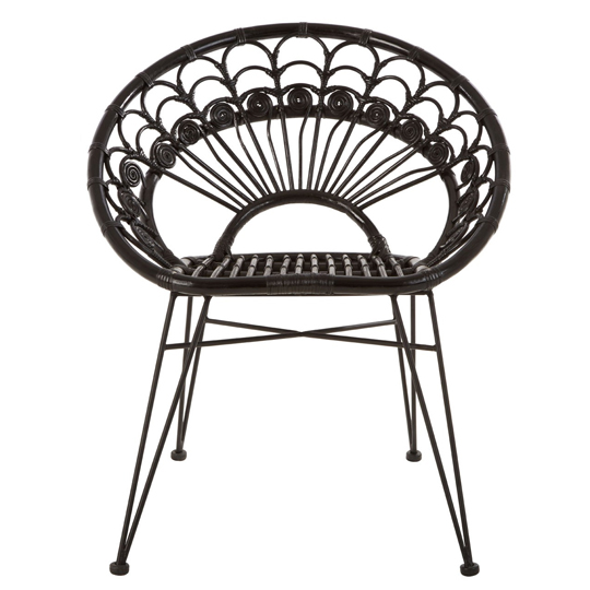 Hunor Black Kubu Rattan Chair With Black Iron Legs