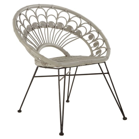 Hunor Grey Kubu Rattan Chair With Black Iron Legs   _2