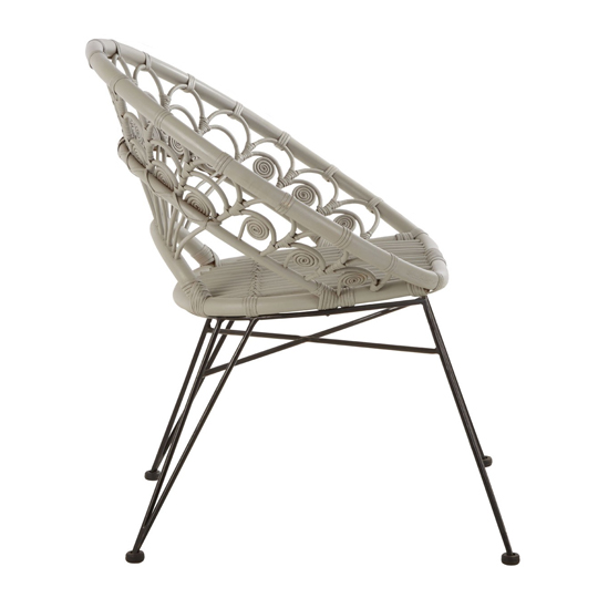 Hunor Grey Kubu Rattan Chair With Black Iron Legs   _3