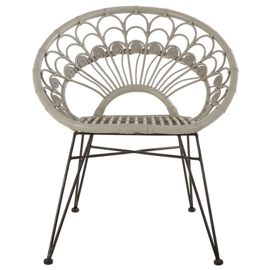 Hunor Grey Kubu Rattan Chair With Black Iron Legs   _1