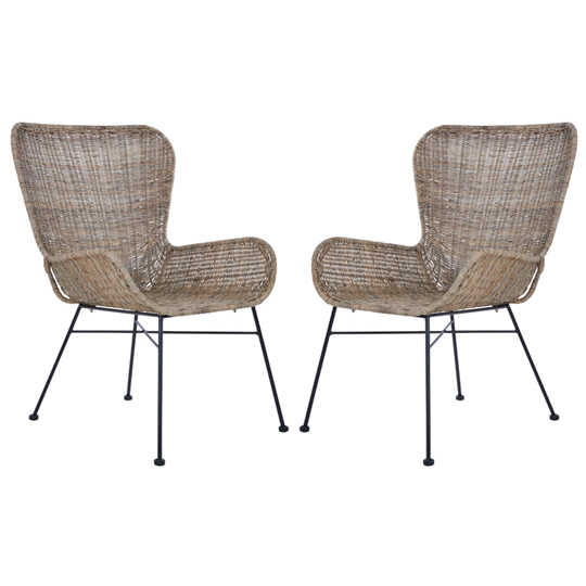 View Hunor kubu rattan curved design chair in pair