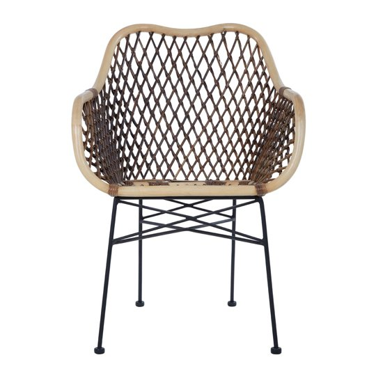 View Hunor natural rattan chair with iron legs