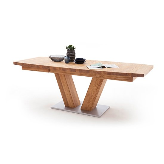 Managua Extending Boat Shaped Dining Table In Wild Oak