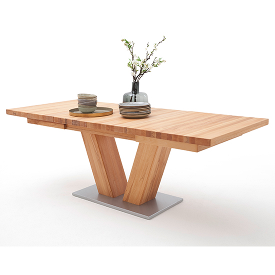 Managua Extending V-Leg Dining Table In Beech Heartwood