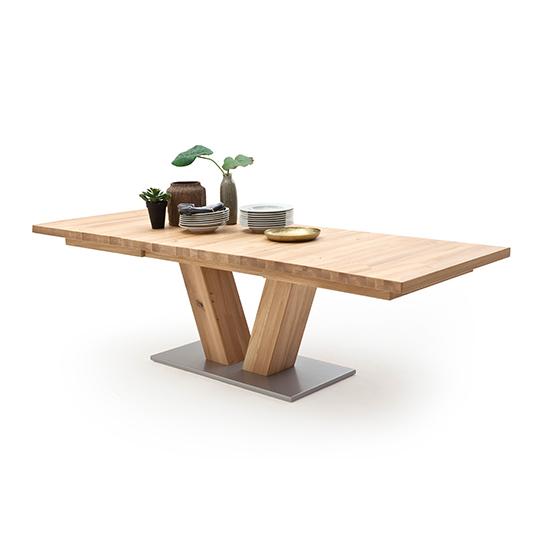 View Managua extending v-leg dining table in bianco oak