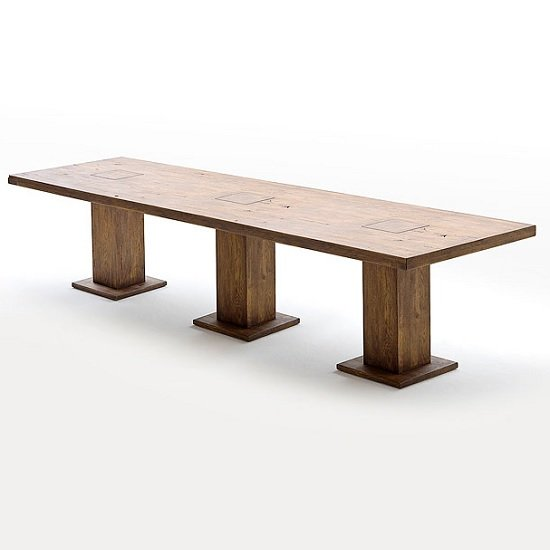 Mancinni 300cm Wooden Dining Table With 3 Pedestals